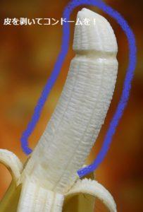 バナナにコンドームをきちんと被せた画像